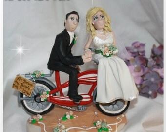 Bicycle Bride & Groom Wedding Cake Topper