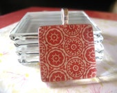 100pk...25mm glass tiles...Crystal Clear Glass Tiles...1 inch...Glass Pendants, Magnets, Earrings, and Cabochons.1SQGL