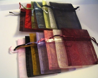 25 Assorted or Solid Color Organza Bags