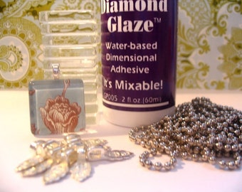 BUNDLE PACK...Prestige Glass Collection 10 Glass Tiles...10  Bails....10 Ball Chains...2oz Bottle of Diamond Glaze..