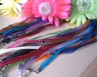 200 Beautiful Organza Ribbon Cord Necklaces. Great for Cabachons, Scrabble and Glass tile pendants