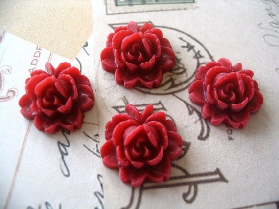 20 Cranberry 18mm Rose Resin Flower Cabochons.