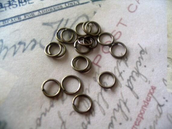 50...6mm Antique Brass Split Jump Rings