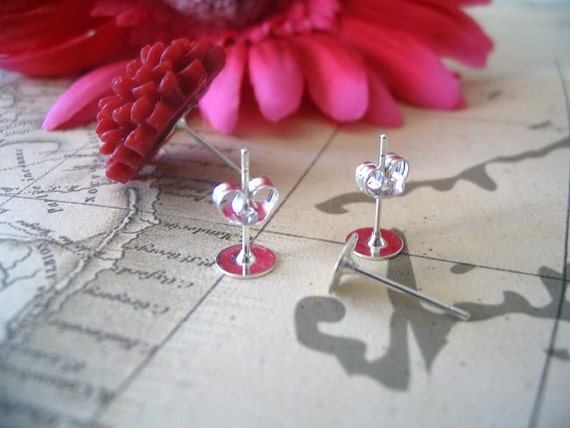 20 Silver Earring Post and Backs....6mm. Great for glass and flower cab earrings...SEP
