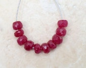 Real RUBY 4-4.5mm (10 FACETED Rondelle) Beads 6.5Ct ETSY-A