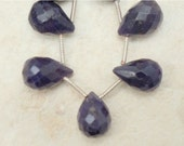 3 Drops - Real Sapphire 10-11x6mm (3 Faceted Drop) Briolette Grade-B ETSY-A