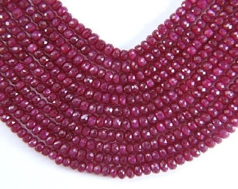GENUINE Natural FACETED Rondell 3.5-4mm RUBY (50 Gorgeous Beads) 22 Carats