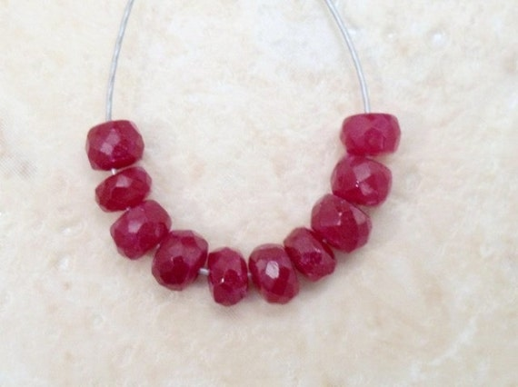 Real RUBY 4-4.5mm (10 FACETED Rondelle) Beads 6.2Ct ETSY-A