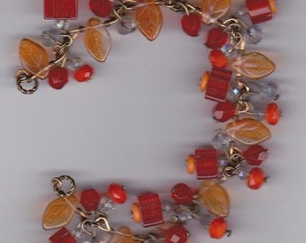 Shades of Orange Funky Dangle Bracelet