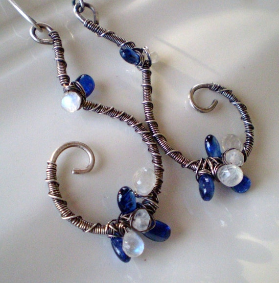 50% OFF Kyanite Swirl Earrings (blue and white wire wrapped)