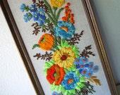 Vintage Framed Crewel Needlework Embroidery Picture Wooden Frame
