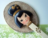Vintage Vanity Hand Mirror Asian Face Paper Mache 1960