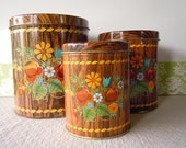 Vintage Kitchen Canister Set Dutch Woodland Tin