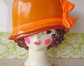 Vintage 1960 Vanity Mirror Figural Head Face Orange Hat Earl Bernard New York