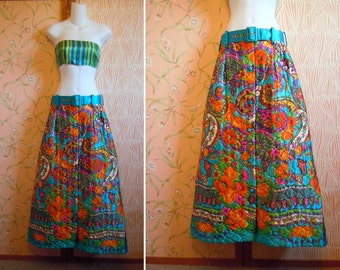 Vintage Turquoise Full Length Skirt Quilted Skirt 1970s Hippie Skirt Flower Power Skirt Boho Skirt Loungewear