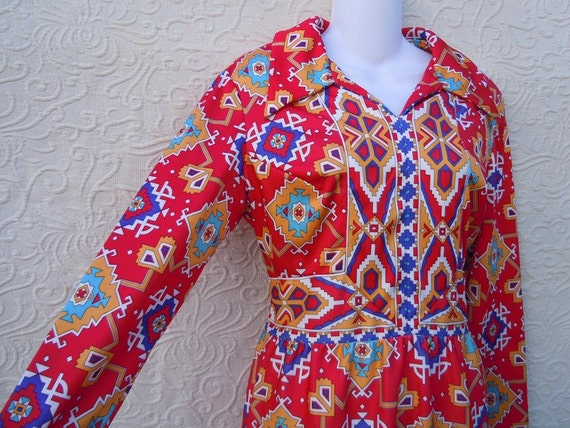 Red Maxi Dress Long Sleeve Vintage 1970 Yves Jennet Neiman Marcus Indian Aztec Design