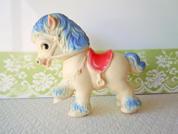 Pony Horse Rubber Squeak Toy Vintage 1950 White Blue Red