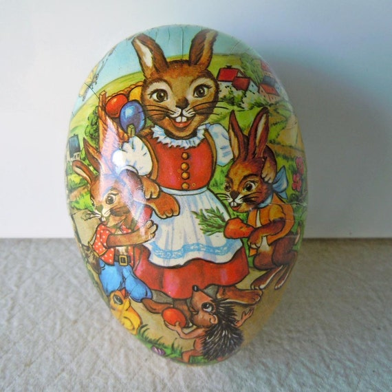 Vintage 1950 Easter Paper Mache Egg Candy Container Bunny Rabbit Germany Home Decor
