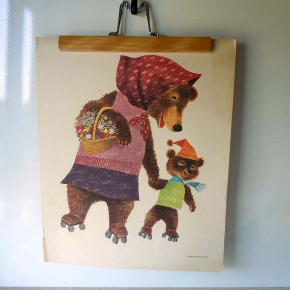 Reserved for Dana Vintage 1958 Animal Picture Art Print Childrens Room Decor Rollerskating Bears