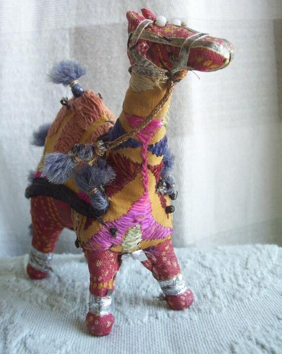 Two Vintage Fabric Patchwork Stuffed Animals Camel Giraffe