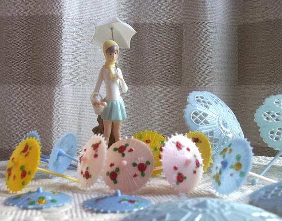 1973 Wilton Cake Decorations Umbrellas Ducks Little Girl