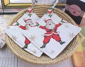 Christmas Holiday Jolly Santa Claus Pot Holders Set of Two