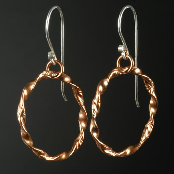 Hand Forged Fancy Twist Copper Small Hoop Earrings