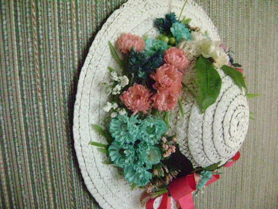 White Straw Hat.  Colorful  Hand-dyed Hill Flowers.  Country Style.  Colorful Home Decor. Clearance.  Ready to Ship.