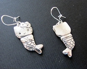 Hello Kitty style MERMAID Earrings show the front and back of the kitty... in antiqued Tibetan silver