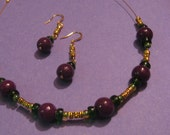 MODERN BABYLON Choker Necklace and Earrings Set with Purple mountain jade, Gold, Green with gold plated earwires