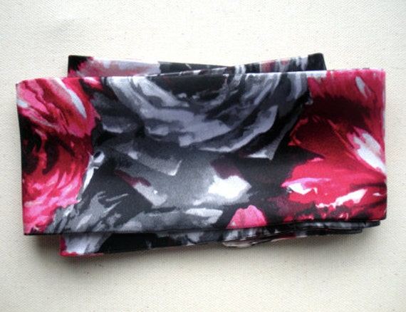 Fuchsia Black Floral Satin Hair Scarf