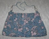 The Skirt Purse Upcycled Recycled Large Blue Paisley Skirt Purse Silver Chain Strap Beach Bag Handbag