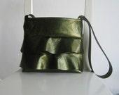 Ruffle Glittery Sequins Green Handbag - Crossbody