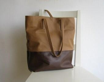 Brown and Cognac/ Camel Leather Tote Shoulder Bag