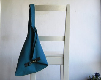 Over the Shoulder Purse in Turquoise Vegan Suede