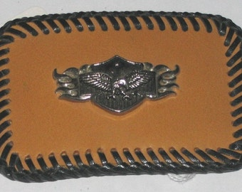 Leather Eagle Shield Buckle