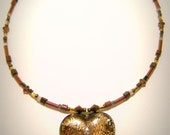 Brown Heart Pendant Necklace