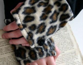 Leopard print fleece fingerless gloves.