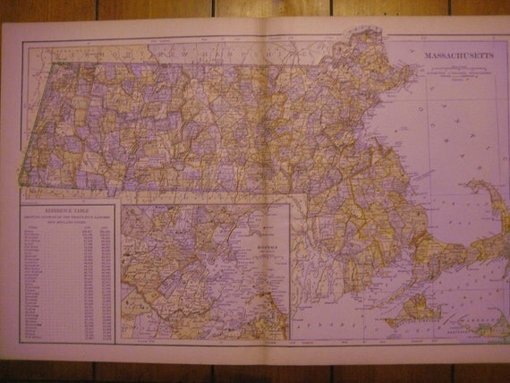 Large1899 Color Map of Massachusetts. FREE U.S. SHIPPING