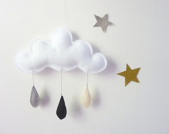 Cloud mobile.... Rain of colors....GREY BLACK CREAM-