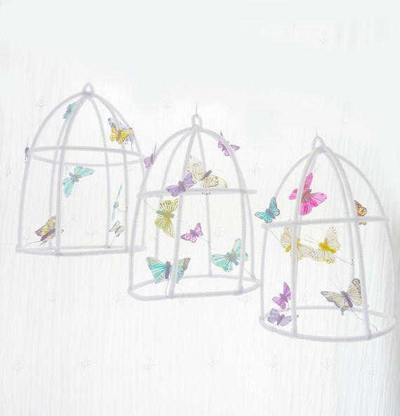 Spring Whimsical Poetic birdhouse for butterflies....Purple/Turquoise/Green /Light yellow- by The Butter Flying