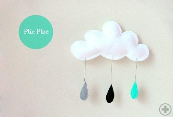 Mobile Rain of colors...Mint-Black-Grey...drops