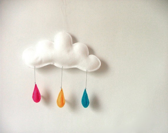 Mobile Rain of colors....TURQUOISE-ORANGE-BRIGHT PINK