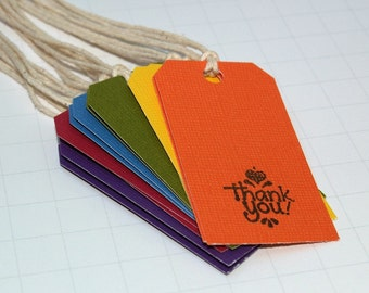Rainbow Thank You Tags (Set of 6) - Rainbow Gift Tags, Multicolored, Journaling, Thank You, Scrapbooking