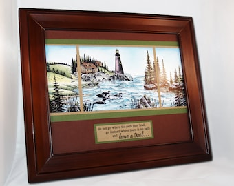 Lighthouse, Cove, Cabin, 8x10 Framed Art OOAK (Leave a Trail) Burgundy,  Blue, Green. Nautical, Outdoors, Pines, Loons, Graduation, Success