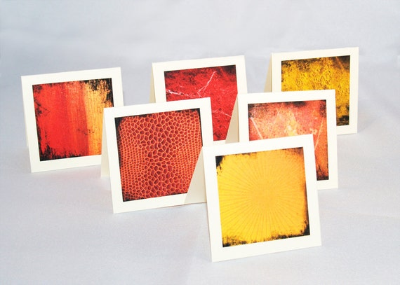 Red Texture Notecards (Set of 6) HANDMADE Minis, Red, Orange, Yellow Sunrise, Sunset, Fire, Grunge, Lunch Box Notes - Set 1