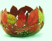 Carved Autumn Leaves Gourd Bowl