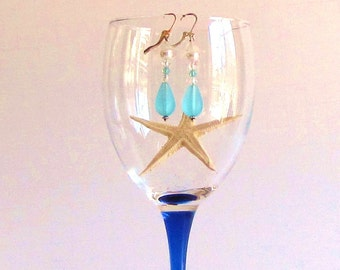 Blue Sea Glass Drop and Crystal Earrings