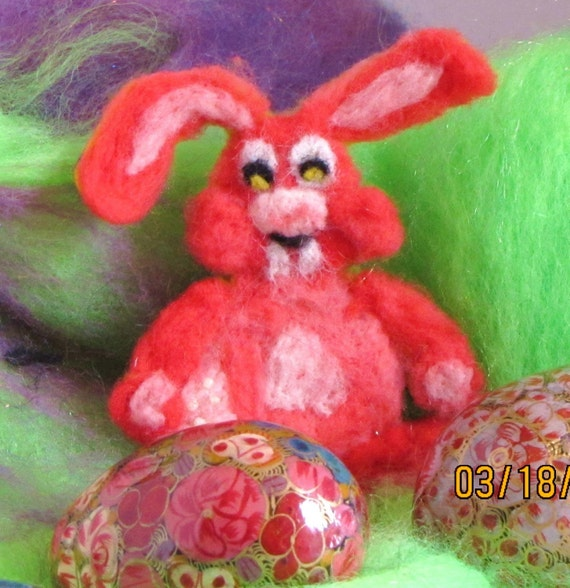 Pink All Over Needle Felted Bunny