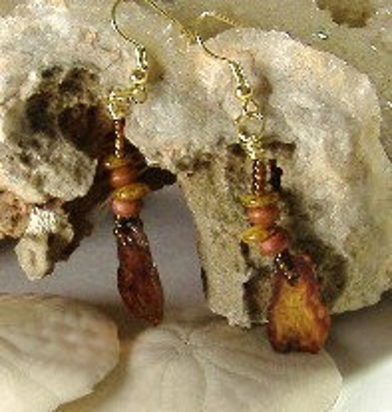 Brown Beaded Mica Dangle Earrings